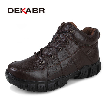 DEKABR Winter Snow Men Boots Fashion Warm Men Shoes Genuine Leather Footwear High Top Work Waterproof Boots Plus Size 38~47