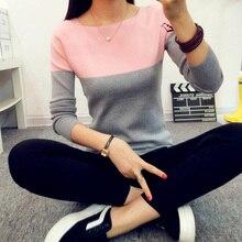 Kvalitní dvoubarevný svetr pro ženy, vysoká elasticita