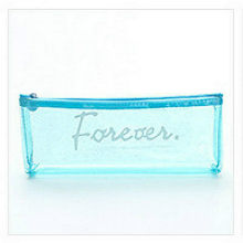 1pcs/sell Kawaii Pencil Case transparent Blue alphabet pattern School Supplies Student Stationery Gratitude Christmas Gift(China)