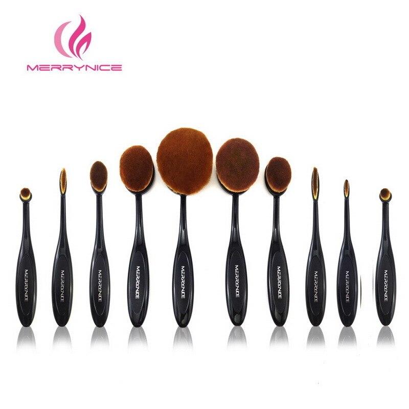MERRYNICE 10pcs Nylon/Plastic Makeup Brush Professional Foundation Powder Brush Top Quality Sets 102HZB