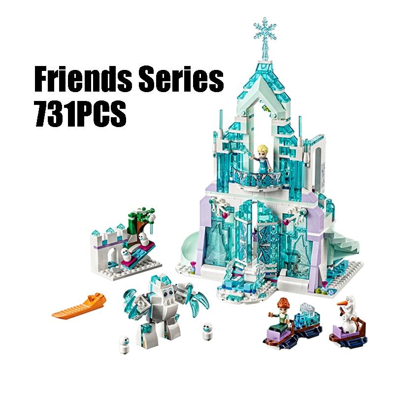 WAZ Compatible Legoe Friends 41148 Lepin 25002 731pcs building blocks Elsa's Magical Ice Castle Bricks figure toys for children waz compatible legoe 41062 girl friends kids lepin 25005 blocks elsa s sparkling ice castle building blocks toys for children
