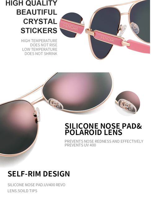 FENCHI Pink Polarized Mirror Glasses  5