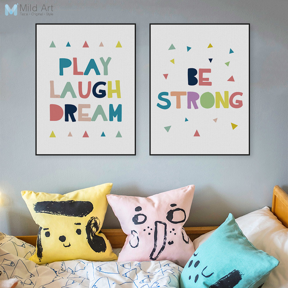 Modern minimalist motivation quotes canvas large art for Kids room wall decor