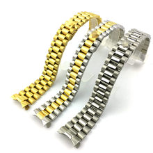 20mm Wrist Band Watch Strap Solid Stainless Steel Curved End President Bracelet Watchbands 18 cm Length Gold Silver w-Logo(China)