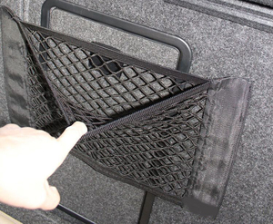 Image 4 - 40*25 ซม.รถกลับด้านหลังที่นั่งกระเป๋าเก็บตาข่ายออแกไนเซอร์Double Deck Elastic Stringสติกเกอร์กระเป๋า
