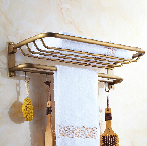 Whole brass fold Antique bath towel rack Active bath towel rack bathroom towel holder Antique Double towel shelf aluminum foldable antique brass bath towel rack active bathroom towel holder double towel shelf with hooks bathroom accessories
