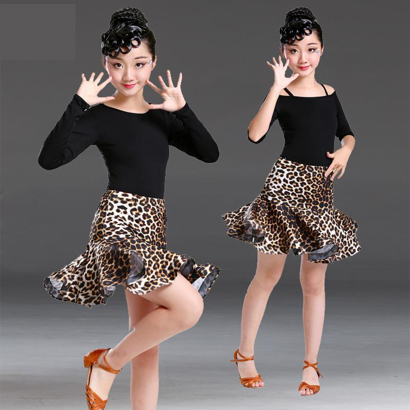 2019 New Sling Round Neck Children Rumba/samba/tango Standard Girls Leopard Skirt Latin Dresses For Dancing Ballroom Dance Dress