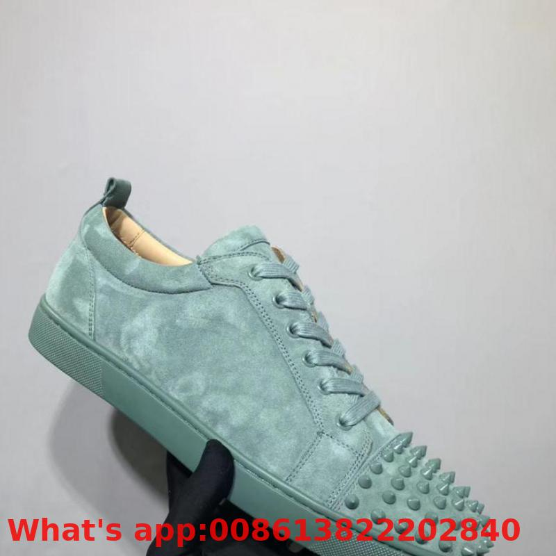 Lovers Low Cut Leisure Shoe Lace Up Grass Green Suede Leather Rivet Red Bottoms For Man Shoes Sneakers Tie Casual Flat(China)