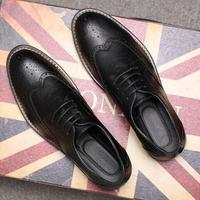 New Fashion Mens Dress Shoes Brogue Vintage Oxfords Shoe Lace Up Black bb0105
