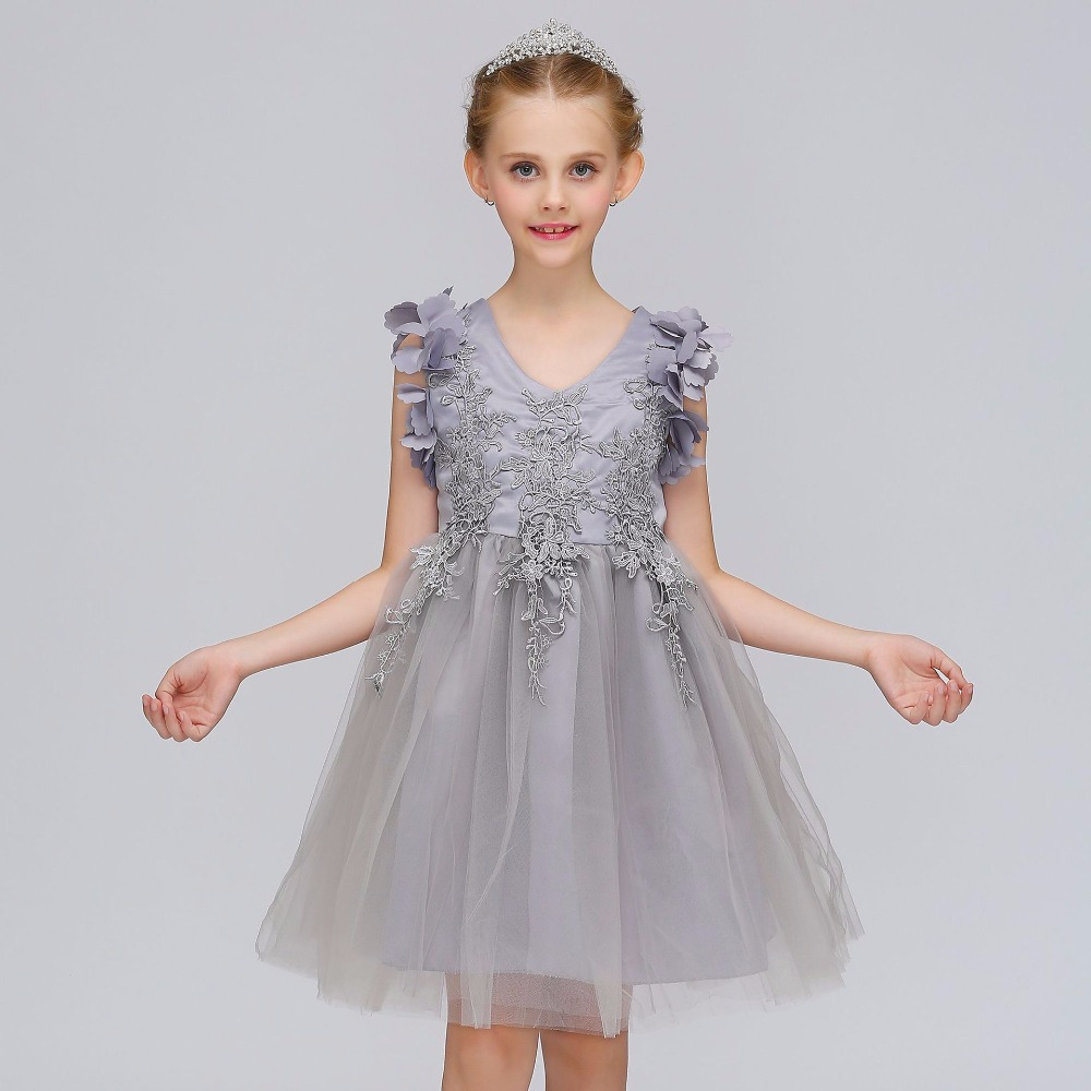 2019 Silver Princess   Flower     Girl     Dresses   for Wedding Ball Gown Evening   Dress   First Communion   Dresses   For   Girls   Pageant Gowns