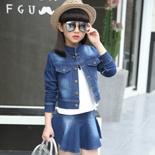 Фотография Spring Autumn New Girls Clothing Sets Denim Coats & Skirts  4 6 8 9 10 12 Years Children Outfits New year costumes for kids
