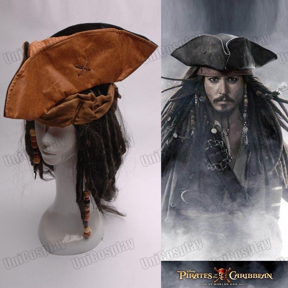 De Piratas del Caribe Jack capitán Cosplay sombrero peluca barba Tricorn  Buccaneer conjunto completo de fiesta Halloween traje accesorios tapas en  ... e6910531804