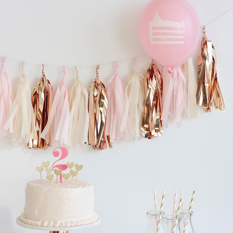 Pink orange and gold tissue paper Tassel Garland Banner Party Decorations