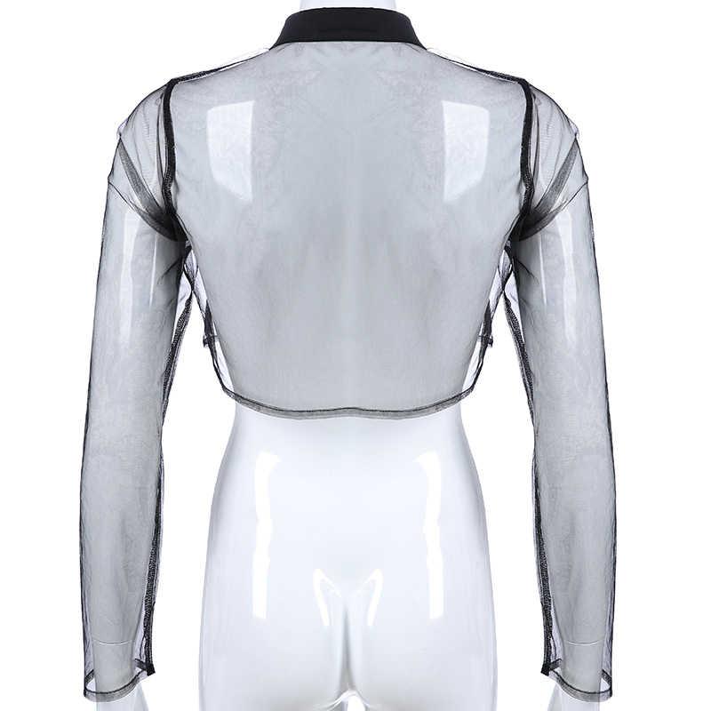 Darlingaga Прозрачная черная сетчатая блузка рубашка женская с длинным рукавом тонкий летний укороченный топ сексуальный отложной воротник женские рубашки 2019