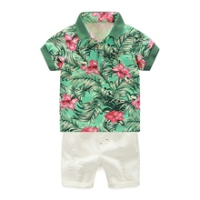 2pcs Boy Baby Set Fashion infant clothing Summer New Lovely Newborn Boy Clothes T-Shirt  Trousers  0-4Y Suits цена в Москве и Питере