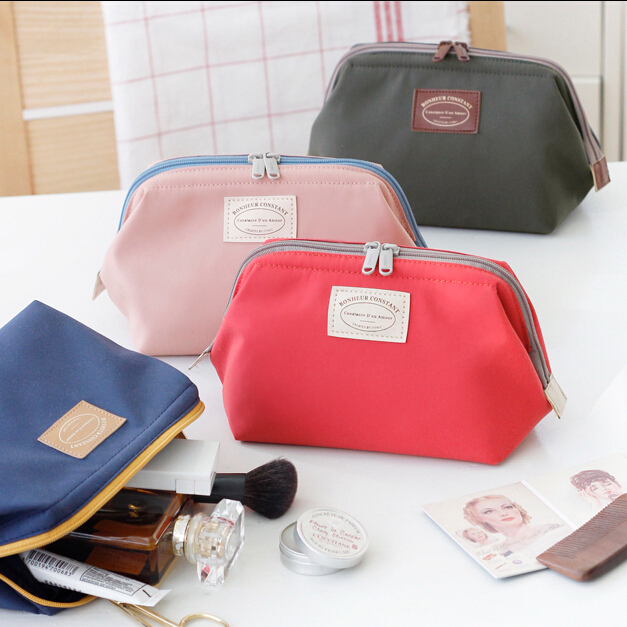 Fashion Cosmetic Bag Women Waterproof Nylon Wash Bags Metal Frame Case Sorting Storage Bags Travel Lady Make Up Bag Change Purse