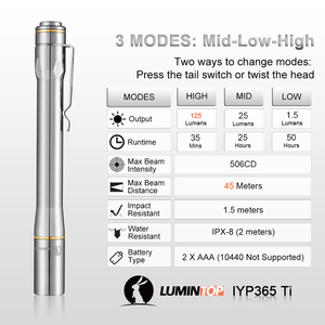 Image 4 - Lumintop IYP365 TI Pocket Penlight Nichia/Cree LED IPX8 Waterproof 3 Modes 2AAA smart titanium pen flashlight for Medical