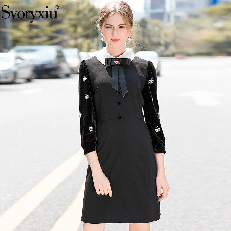 Svoryxiu 2018 Autumn Winter Runway Black Short Dress Women s Gorgeous Bee Diamonds Velvet Long Sleeve
