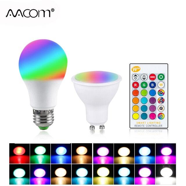 RGB LED הנורה אור E27 GU10 5W 10W 15W Dimmable מנורת ססגוניות משתנה + IR שלט רחוק RGB Lampada מקורה תאורת מנורה