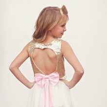 Gold Sequin Heart Backless Flower Girl Dresses