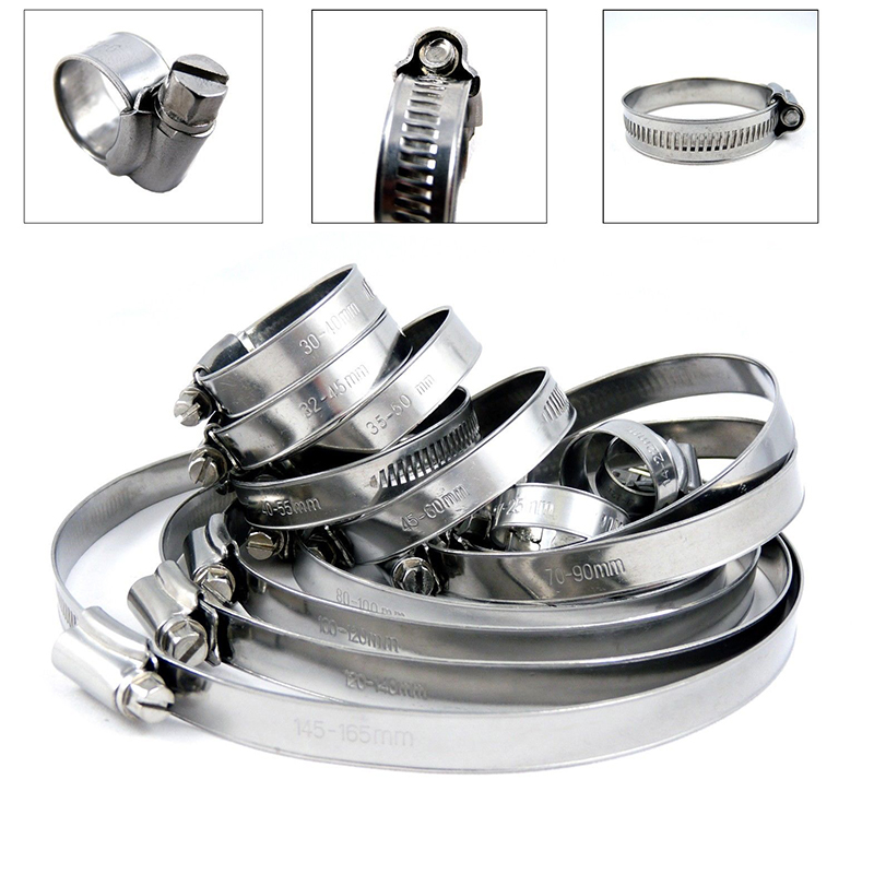10pcs Adjustable Stainless Steel Hose Pipe Clamps Clip Worm Drive Air Tube Clamp Fastener Fuel Line Worm Clip Mayitr new 34pcs carbon steel worm gear adjustable hose clamps assortment set 16mm 32mm