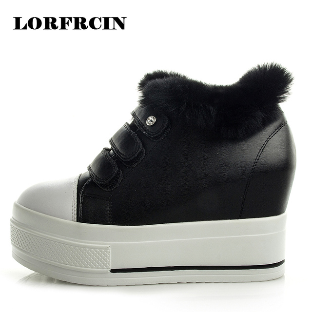 LORFRCIN Winter Women Ankle Boots Genuine Leather Super High Heel Shoes Woman Hook Loop Height Increasing Lady Boots 2017