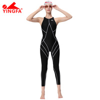 Yingfa FINA утверждение Professional одежда заплыва Training костюмы для женщин колено Купальник Спортивный цельный конкурс sharkskin