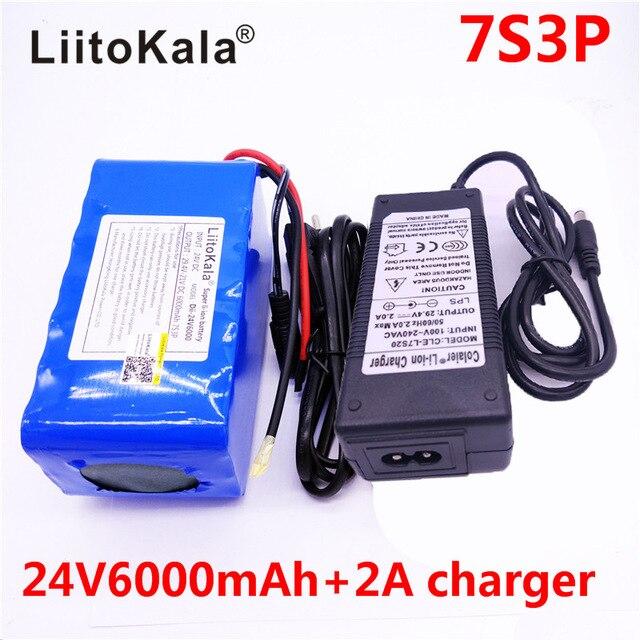HK LiitoKala 7S3P 24 v 6Ah Bateria 18650 Bateria 29.4 v 6000 mah li ion bicicleta electrica ciclomotor/electrica + carregador 2A-in Batterij pack van Consumentenelektronica op  Groep 1