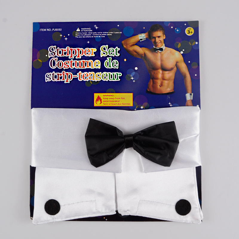 Gay Men Sexy Costume Playboy Accessories Collar And Cuff Set Male Dancer Sexy Stripper Cosplay Costume Butler Waiter Lingerie