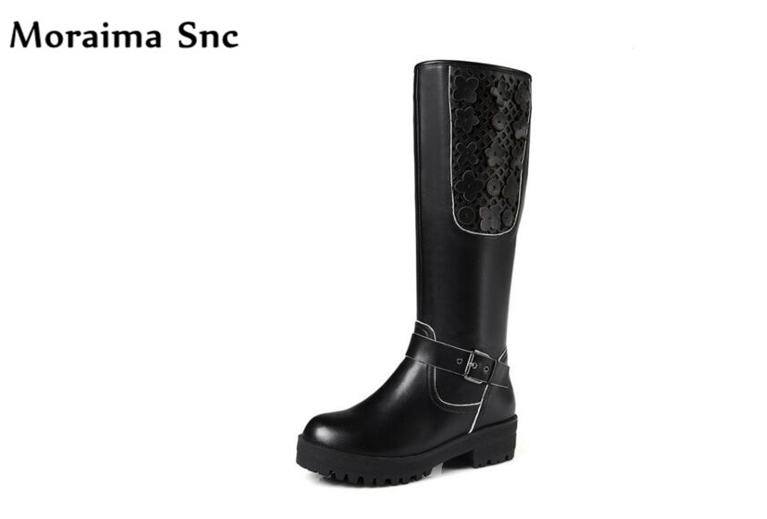Moraima Snc PU leather fashion women riding boots black flower round toe platform waterproof2018 spring Autumn long boots