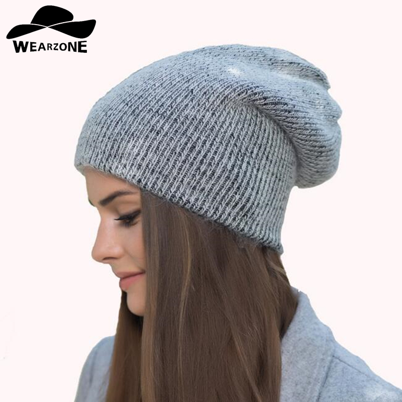 New Women Wool Beanie Autumn Winter Casual Knitted Caps Solid Snap Slouch Skullies Bonnet Beanie Hats Gorro