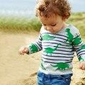 Динозавр Футболка Детская Одежда Детские Топы Детские Рубашки Детские Футболки мальчики Футболки Маленький Ребенок День Рождения Мальчика 2017 Новый Длинные рукавами