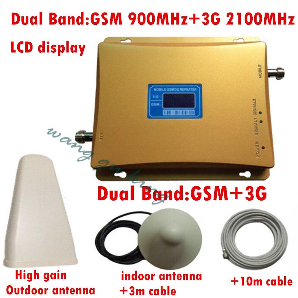 Haute qualité 1 Set 2G 3G GSM double bande amplificateur de signal GSM 900 mhz 3G 2100 mhz double bande cellulaire gsm 3g amplificateur de Signal de booster