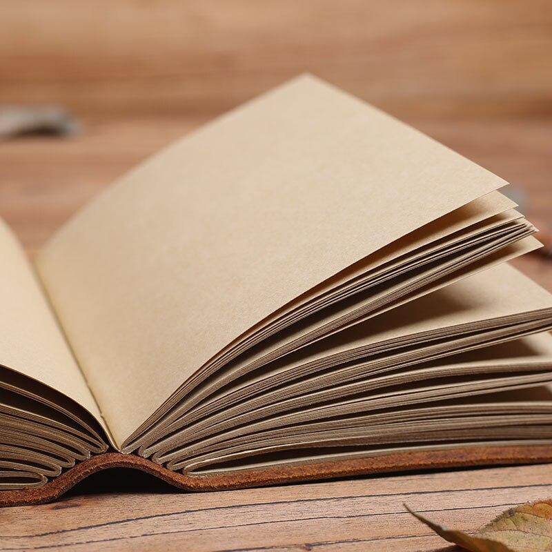 Cuaderno de cuero Vintage hecho a mano, muy grueso diario viajero diario DIY álbum de fotos, pareja regalos novio-in Cuadernos from Suministros de oficina y escuela    3