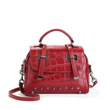 Crocodile Skin Like Rivet Handbag