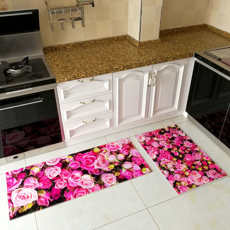 3D Printed Anti Slip Kitchen Mat Long Bathroom Carpet Modern