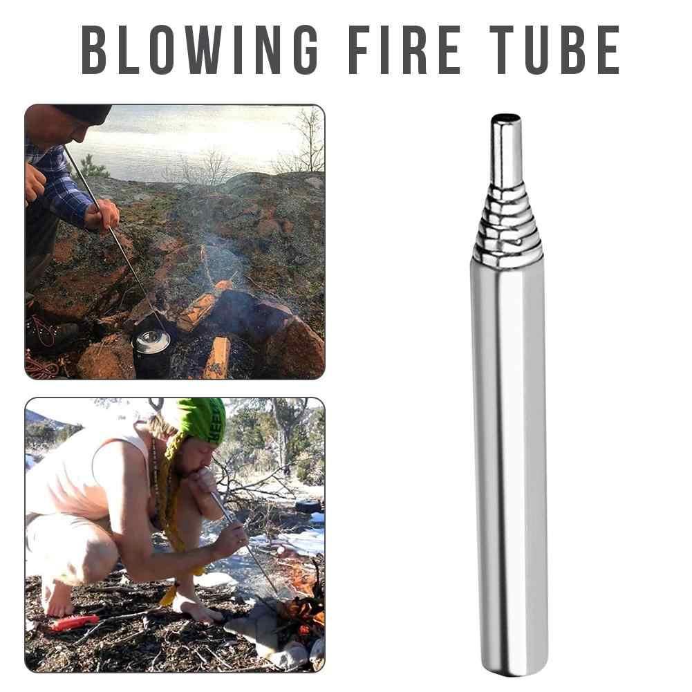 สแตนเลส Blowpipe แคมป์ไฟเครื่องมือเก็บได้เป่าไฟหลอด Campfire กระเป๋า Bellow กลางแจ้งเกียร์