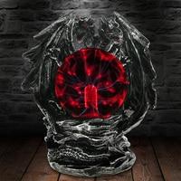 Gótico dragão bola de plasma estátua com vidro elétrico horror iluminação casa decoração arte estatueta novidade lâmpada luz|Iluminação Novelty| |  -
