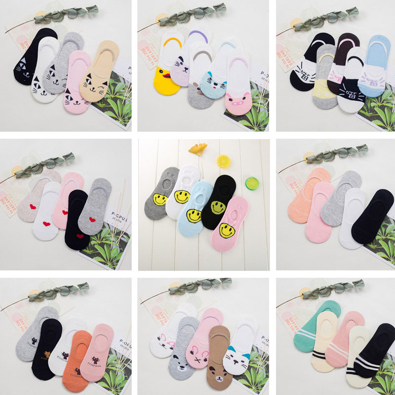 5pairs Fashion Animal Patterned Short Women   Socks   Cartoon Summer Thin   Socks   Art Cute Funny Cotton Ankle   Socks   Cheap Soft Hosiery