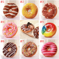 Cute Donuts Pillow Chocolate Donuts Plush Macaron Food Cushion Nice Bottom Cushion Nap Pillow Doughnut Coussin