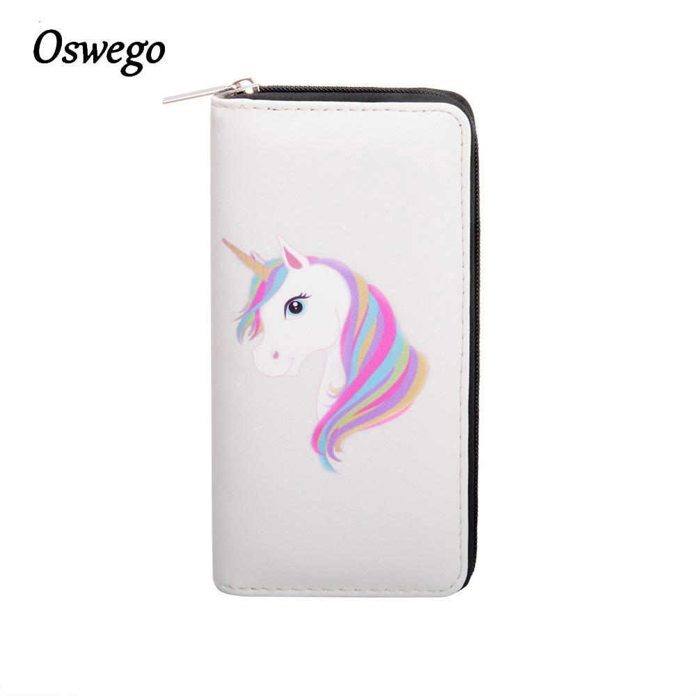OSWEGO Cartoon Printed Unicornio Women Long Wallet Female Clutch Zipper Coin Purse Card Holder Phone Bag Portefeuille femme anime natsume yuujinchou women s cartoon wallet female clutch long purse zipper coin pocket card holder portefeuille femme