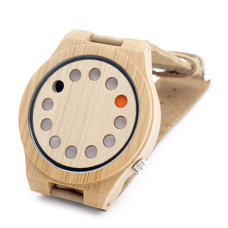 BOBO BIRD 12holes Dial Design Natural Bamboo Wooden Watch Genuine Brown Leather Strap Japanese Quartz Movement