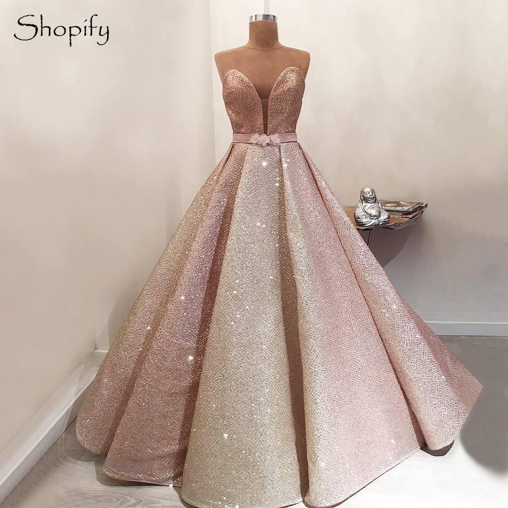 Real Sample Long Glitter Evening Dress 2019 Ball Gown Sweetheart Bling  Bling Elegant Women Arabic