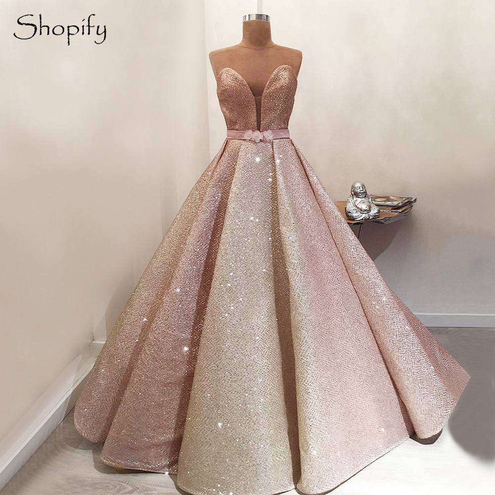 Real Sample Long Glitter   Evening     Dress   2018 Ball Gown Sweetheart Bling Bling Elegant Women Arabic Formal   Evening   Gowns