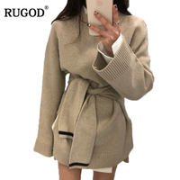 RUGOD New Korean Style Belted Tunic Warm Sweater for Women 2018 Spring O Neck Long Sleeve Knitted Pullover Causal Loose Blouse