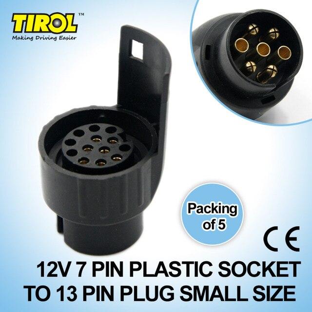 Tirol 7 To 13 Pin Trailer Plug Black Plastic Trailer Wiring ...