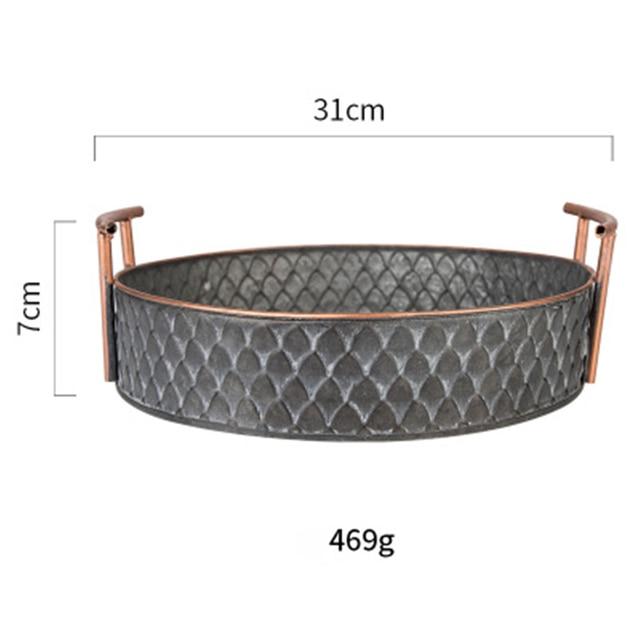 Scandinavian Metal Storage Basket with Handles Iron Vintage Elegant Luxury Desk Storage Organizer Decor Fruit Basket for Home 5