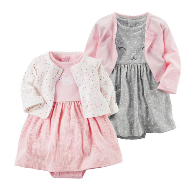 7b2bad0b2a8 2 Pieces Set 2018 New Baby Girls Flower Dresses Cotton Jumpsuits Girls  Fashion Spring Autumn Clothes Newborn Baby Girl Roupa