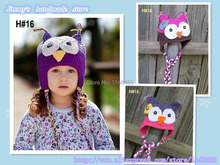 3 colors Handmade Newborn Baby girl Crochet Knit owl beanie Hat in blue and hot pink christmas gift Free Shipping over the world