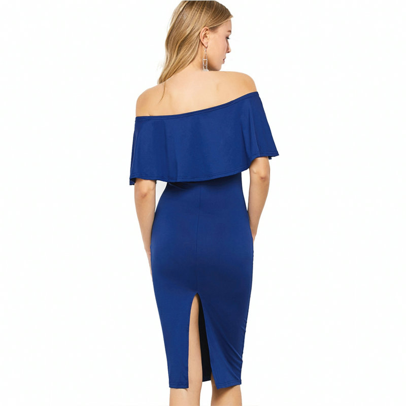 Gold Hands 2017 New Summer Sexy Women Sheath Jag Dresses Package Hip Solid Blue Black Red Empire Ruffle Slash Neck Dress